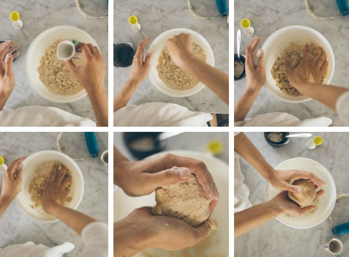 make a pie - step 7 - stir in water and smoosh together dough