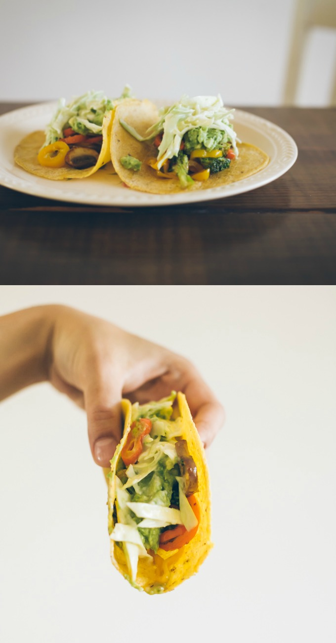 vegetarian tacos with cabbage slaw
