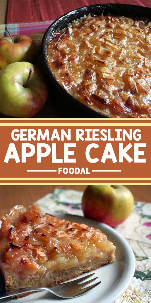 A collage showing two different views of a German apple cake.