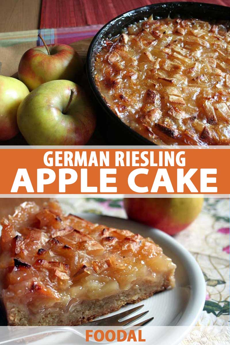 A collage of photos showing different views of a German Riesling Apple Cake.