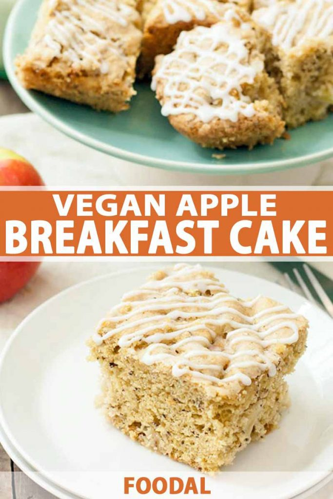 Closely cropped shot of a white plate topped with a slice of vegan apple cake with a drizzle of white sugar icing on top, with a green plate topped with more pieces of the baked good in the background, with a red apple on a white cloth, printed with orange and white text.