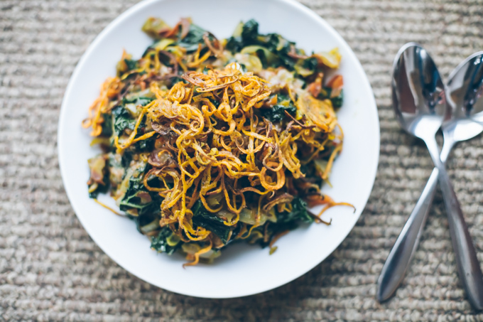 spicy kale peanut bowls with shoestring sweet potatoes