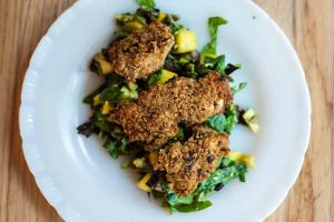 "Baked ""Fried"" Chicken with Mango Avocado Salad"
