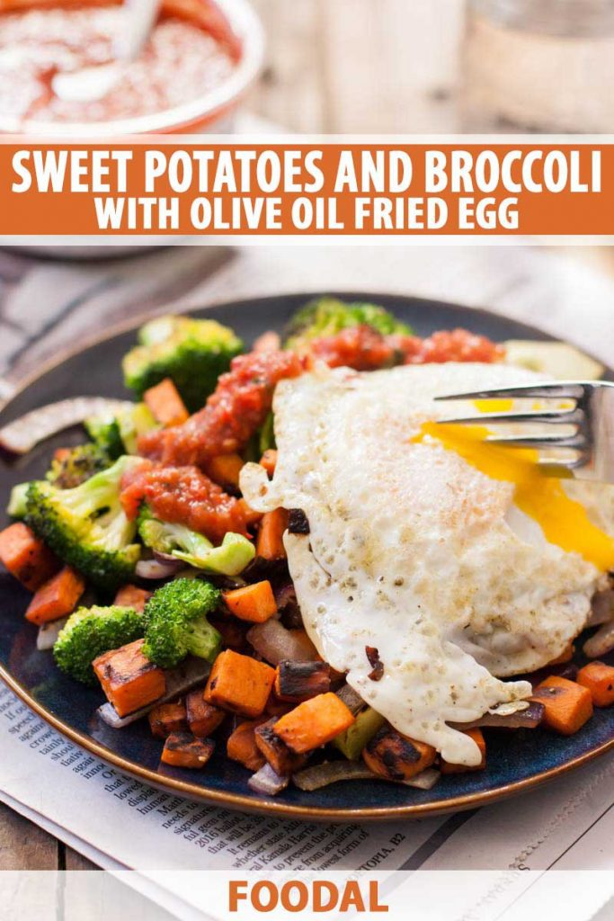 Oblique view of a over easy fried egg on top of a sweet potato and broccoli hash. A human hand is using a fork to bust open the runny yolk.