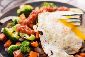 Sweet Potatoes and Broccoli with Olive Oil Fried Egg