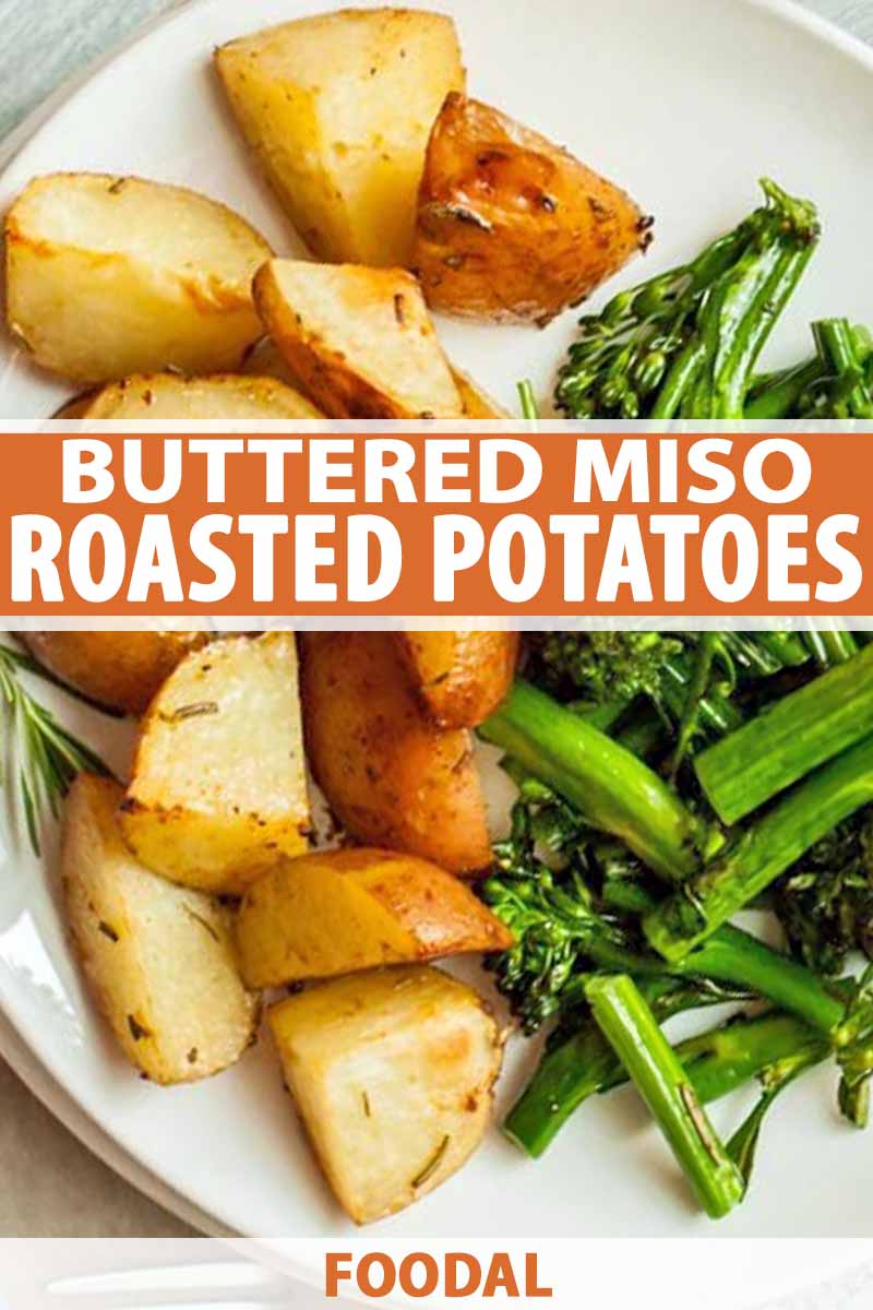 Closeup image of red roasted potatoes on a white plate with sauteed broccolini, printed with white and orange text.