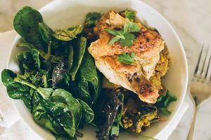 Carrot, Rainbow Chard, and Red Potato Daal with Seared Chicken Breasts