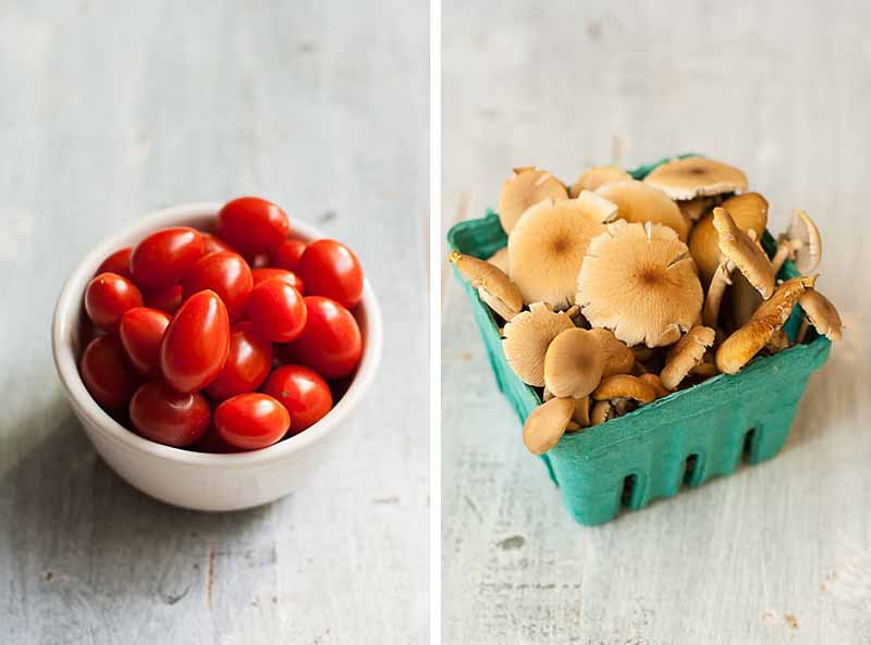 Cherry tomatoes and pioppino mushrooms on a light colored wooden background.