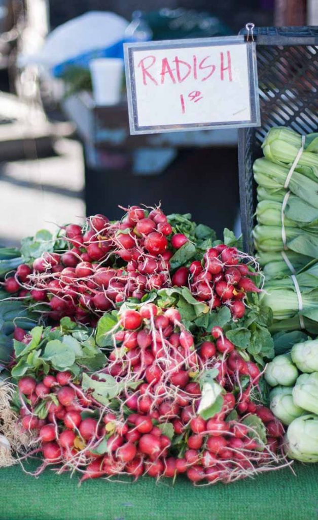 Radishes in bunches at Farmers market with prices marked $1.50 per bunch.