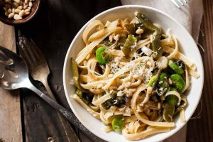 Roasted Poblano and Fava Bean Fettuccine: A Rustic Pasta Dish for Tonight's Dinner