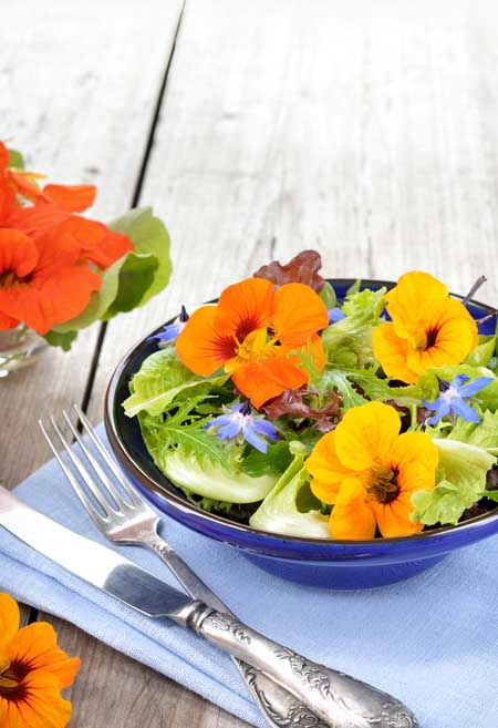 Summer salad with edible flowers | Foodal.com