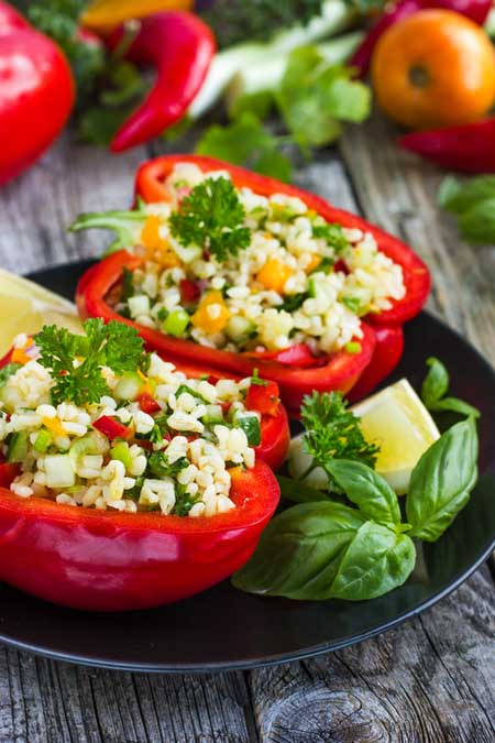 Vegetarian Stuffed Bell Peppers | Foodal.com