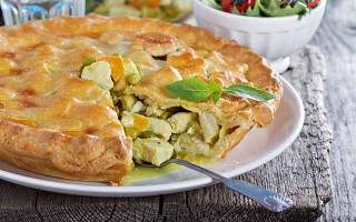 Chicken Curry Pot Pie With Carrots and Green Peas