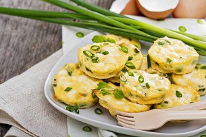Mini Green Onion Frittatas with Peas and Feta