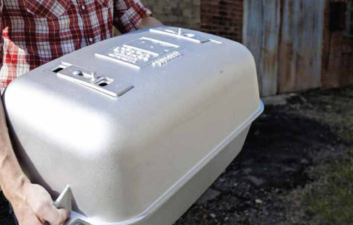 Portable Kitchen Cast Aluminum Grill is lightweight and peferct for tailgaing and camping | Foodal.com