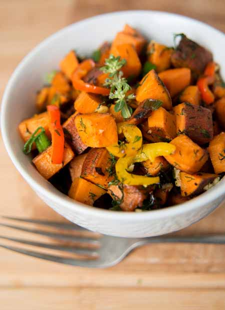 Recipe for Sweet Potato Hash with Fresh Herbs, Peppers and Onions   Foodal.com