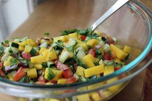 Dip Your Chips in This Spicy and Refreshing Mango Cucumber Salsa