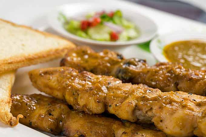 Spicy Peanut Chicken Satay with Cucumber Salad Recipe | Foodal.com