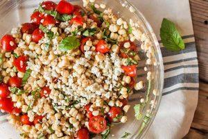 Summer Corn Salad with Gorgonzola Cheese and Balsamic Vinegar