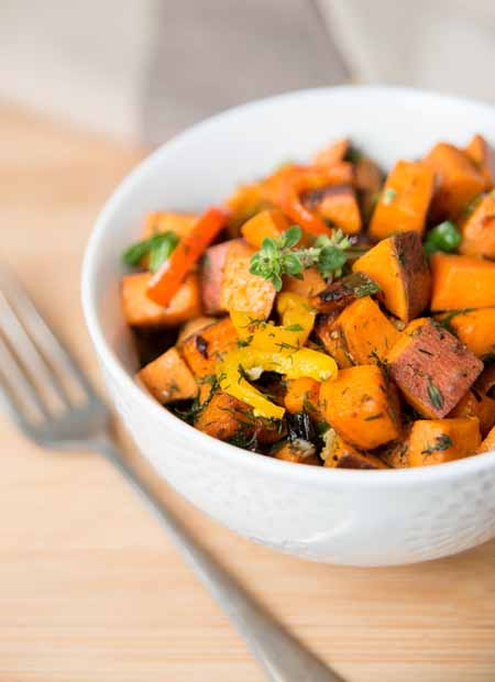 Sweet Potato Hash with Fresh Herbs, Peppers and Onions Recipe | Foodal.com