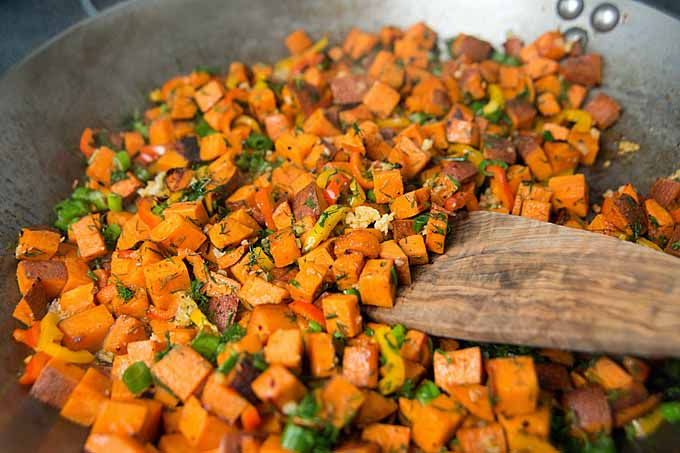 Sweet Potato Hash with Fresh Herbs, Peppers and Onions | Foodal.com