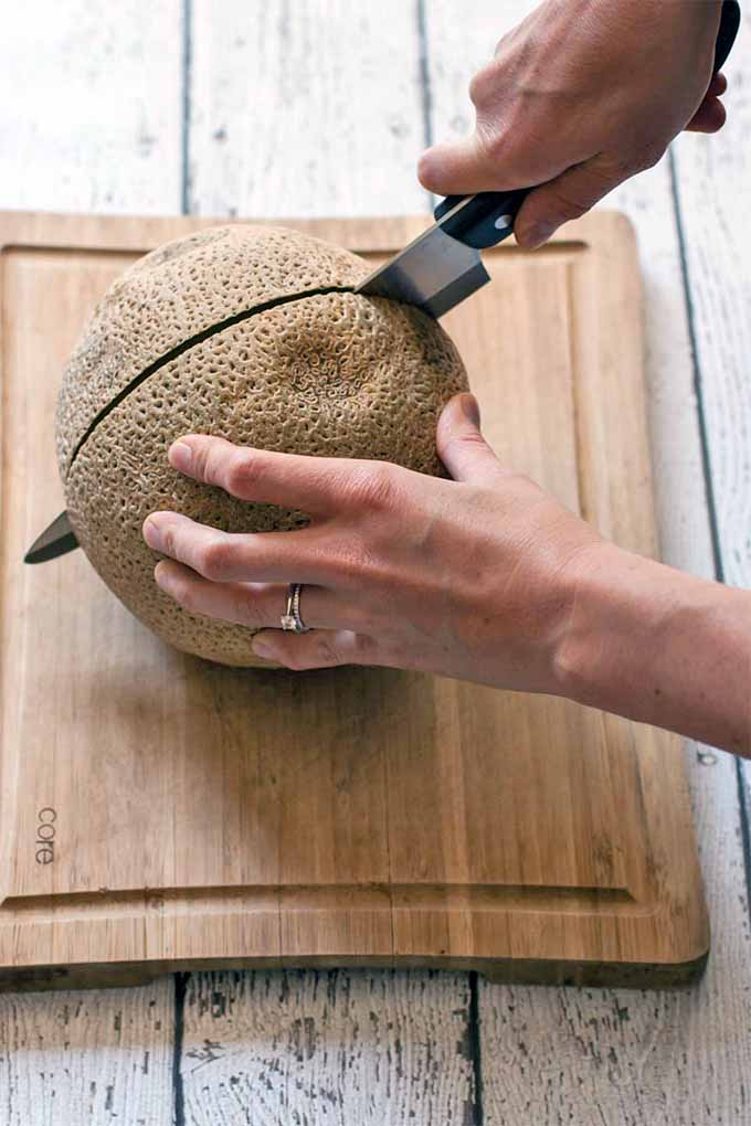 A woman wearing a wedding ring holds a whole cantaloupe still on a wooden cutting board while she cuts into it with a black-handled chef's knife held in her right hand, on a whitewashed wood table.