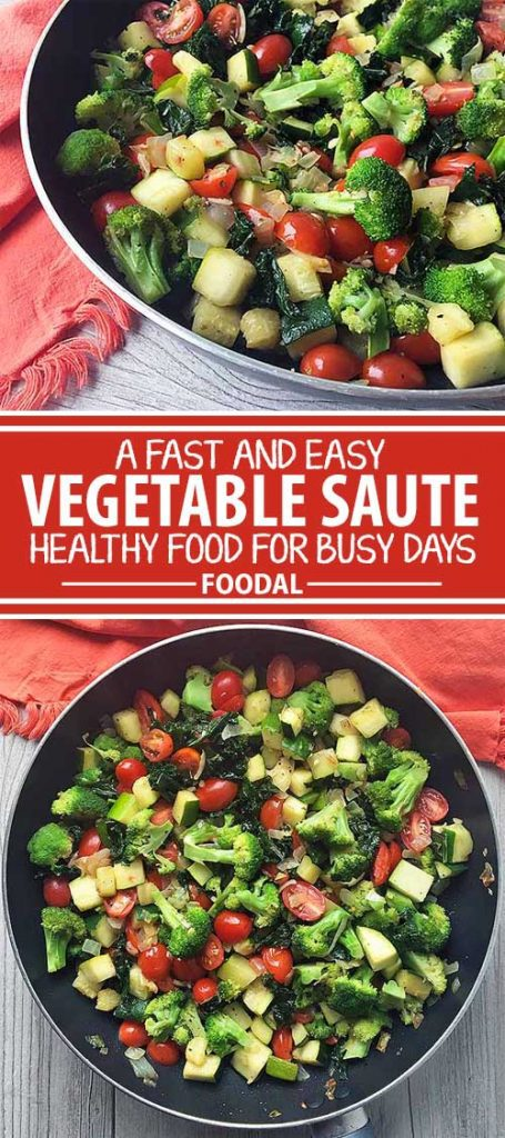 Looking for fresh way to use your kale? Try this simple sauté with other nutrient packed vegetables including cherry tomatoes, onions, broccoli, kale, and zucchini all expertly combined to make a tasty, healthy dish.