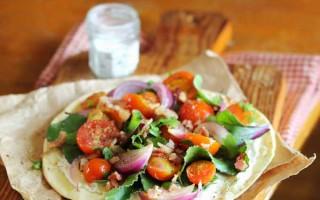 Homemade Wheat Flatbread with Salad & Hot Bacon Honey Mustard Dressing