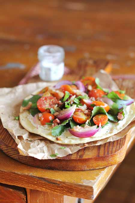 Homemade Wheat Flat Bread with Salad & Hot Bacon Honey Mustard Dressing Recipe | Foodal.com