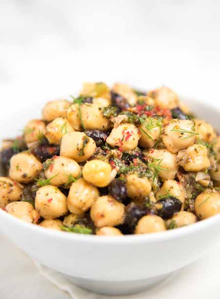 Recipe for Chickpea and Black Bean Vegetarian Salad with Fresh Herbs   Foodal.com