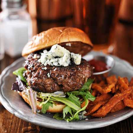 Recipe for Oozy Bluesy Stilton and Sirloin Burgers   Foodal.com