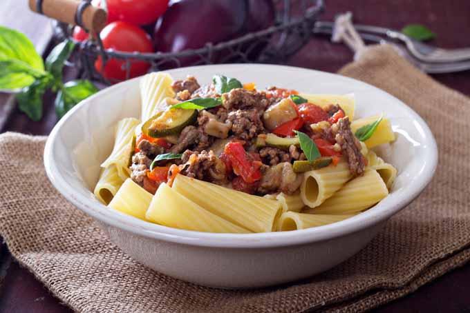 Rigatoni with Eggplant Bolognese | Foodal.com