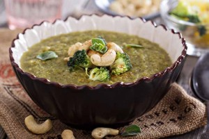 Roasted Broccoli Soup With Healthy Cashews (Vegan Friendly)