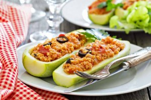 Vegan Stuffed Zucchini With Millet, Tomatoes, and Olives
