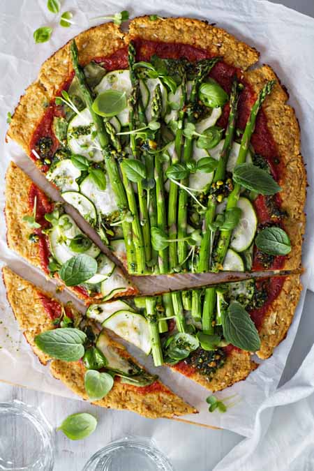 Zucchini, Spinach, Asparagus Pizza - 11 Ways to Use Summer Squash