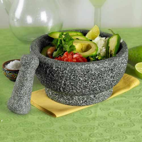 8 1/2 inch Polished Natural Stone Mortar and Pestle by Casa Maria | Foodal.com