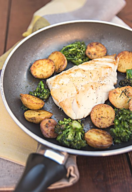 Wild Black Cod Sautéed Fillet Served with Potatoes and Broccoli