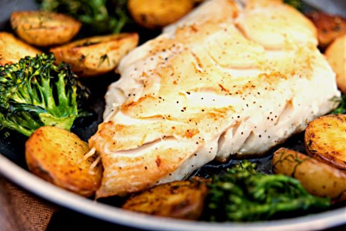 Wild Black Cod Sautéed Fillet Served with Potatoes and Broccoli   Foodal.com