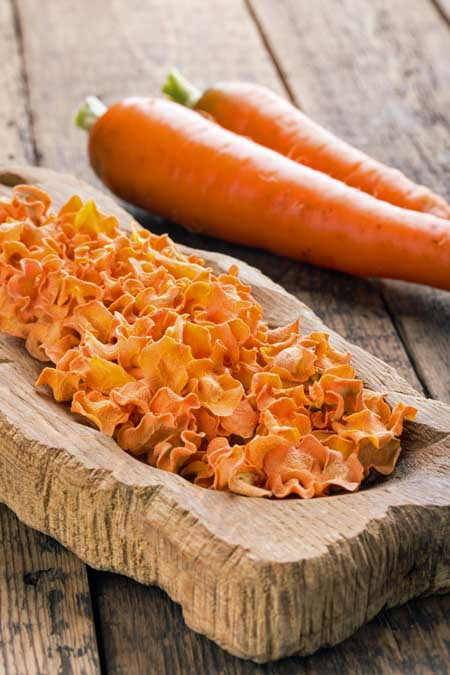 Dehydrating carrot chips with the Aroma Professional 6 Tray Food Dehydrator | Foodal.com