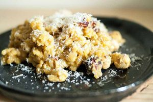 Pumpkin Kamut with Pecorino and Hazelnuts
