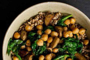 Chickpea, Spinach, and Vegan Sausage Farro Grain Bowls