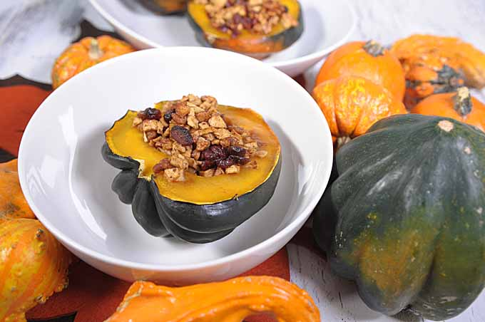 Stuffed Acorn Squash with Cranberries, walnuts, and apples in a white ceramic bowl surrounded by decorative gourds.