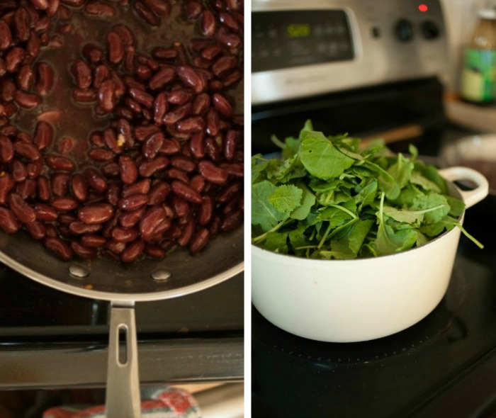 beans and greens for Italian soup