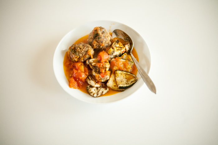 grassfed Italian meatballs with simple sauce and roasted vegetables