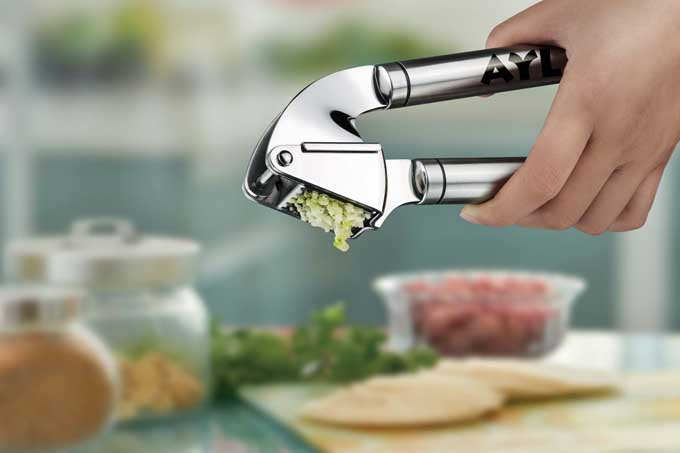 AYL Best Garlic Press Stainless Steel with Cleaning Brush | Foodal.com