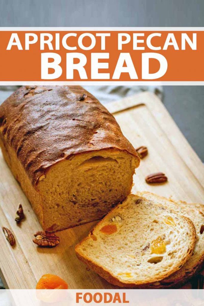 Vertical image of a loaf and a few slices of homemade fruit and nut bread, on a wooden cutting board with scattered pecans and dried apricots, on a gray background, printed with orange and white text.