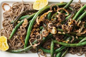 Green Beans and Soba Noodles with Crispy Shallots