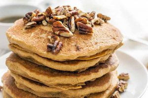 Vegan Pecan Pie Pancakes with Brown Sugar Syrup