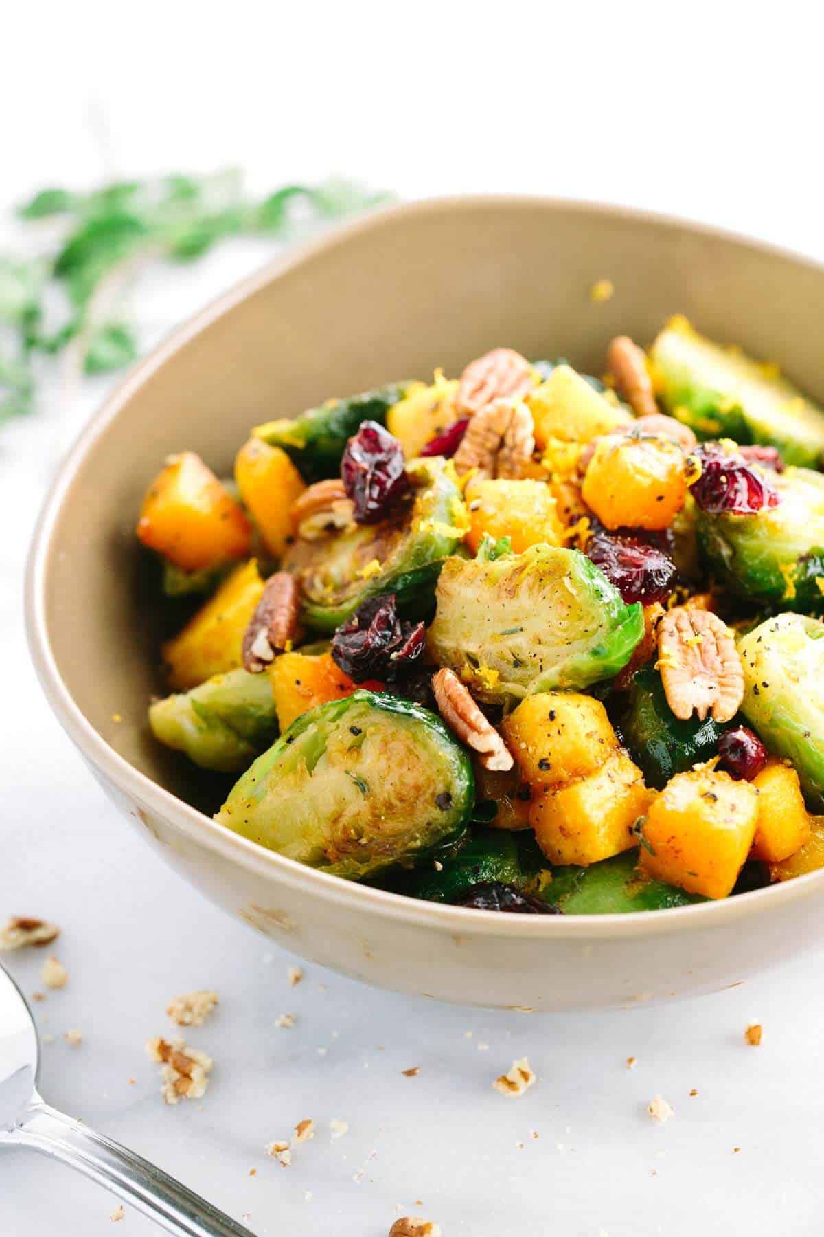 Honey Orange Glazed Brusels Sprouts with Butternut Squash
