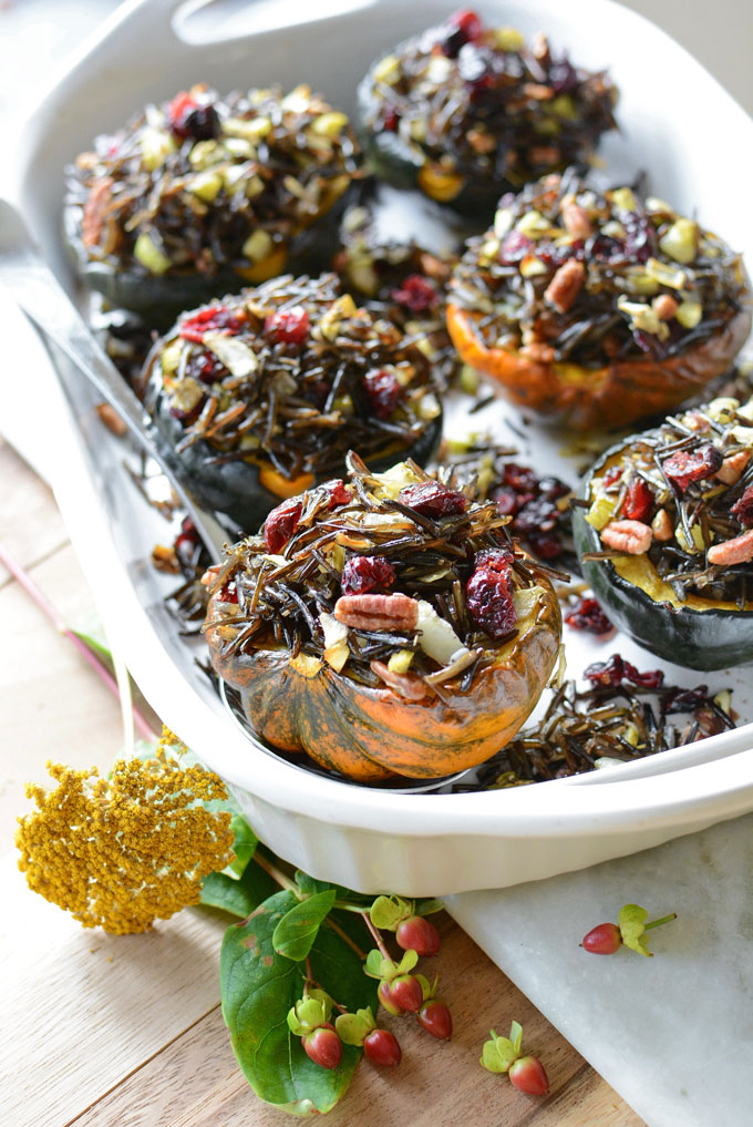 Wild Rice Stuffed Acorn Squash from Simple Seasonal